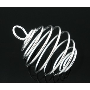 Spiral Bead Cage Pendants Silver Plated (1)