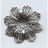 Filigree Flower Shapes Oxidized Silver 35mm (3)