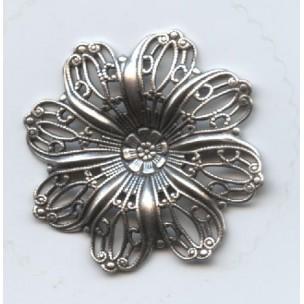 Filigree Flower Shapes Oxidized Silver 35mm (3)