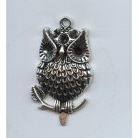 Large Owl Pendant Antique Silver 40x24mm (1)