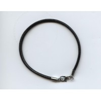 """Black Leather 7"""" Cord with Silver Plated Ends (1)"""