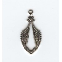 Unique Pendant drop with beaded edge Oxidized Silver (6)