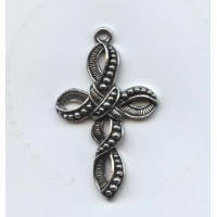 Cross pendant of twisted ribbon 38x23mm Antique Silver (1)