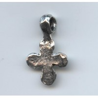 Hammered cross pendant with large loop, 31x19mm Antique Silver (1)