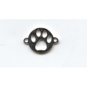 Dog Paw Print 12mm Connectors Bright Silver (6)