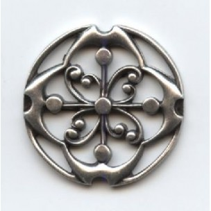 Sparrows Compass Stamping 24mm Oxidized Silver (3)