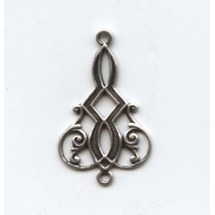 Elaborate Filigree Drop Connectors with top and bottom loop Oxidized Silver (12)