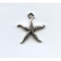 Thin Starfish Charm Light Antique Sterling Silver plated pewter (2)
