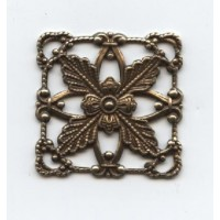 Square Flat Filigree Connector Oxidized Brass 25x25mm (6)