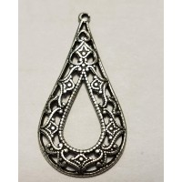 Grand Filigree Pendant Hoops Oxidized Silver 35mm (6)