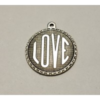 Love Charms Oxidized Silver brass 21mm (3)