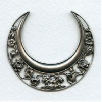Large Art Nouveau Moon Stamping 62mm Oxidized Silver (1)