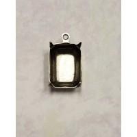 Octagon Shape Setting Pendants 14x10mm Oxidized Silver (12)