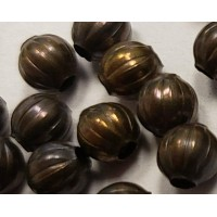 Tiny Fluted Round Spacer Beads Oxidized 3mm Varied Color of Brass (50)