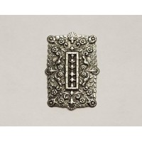 Embossed Rectangles Oxidized silver 35x25mm (6)