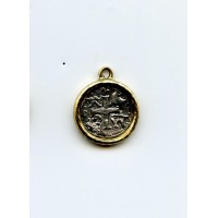 Cross coin in bezel, 21mm with loop 2 tone Ant Gold/Ant Silver (1)