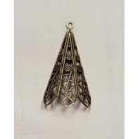 Filigree Pendant Made for Wrapping Oxidized Brass 38mm (2)