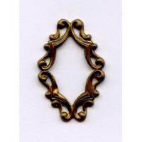 Oval Filigree Framework 29x19mm Raw Brass (6)