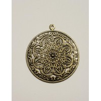 Floral Pendant with Loop Oxidized Brass (3)