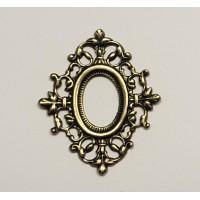 Ornate Filigree Frame 13x9mm Oxidized Brass (1)