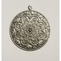 Floral Pendant with Loop Oxidized Silver (3)