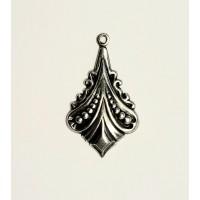 Beaded Flair Oxidized Silver Pendant Drops (6)