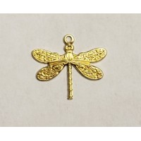 Victorian Style Dragonfly Pendants Raw Brass (12)