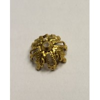 Floral and Filigree 12mm Bead Raw Brass (12)