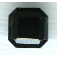 ^Jet Glass Square Octagon Stones 8x8mm