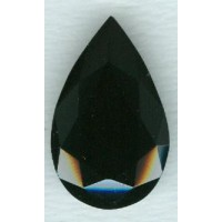 Jet Glass Pear Shape Unfoiled Stone 32x20mm (1)