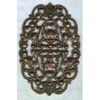 Grand Oval Filigree Oxidized Copper Plated