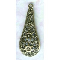 Filigree Floral Pendants German Made Oxidized Brass (2)