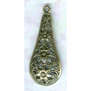 Filigree Floral Pendants German Made Oxidized Brass
