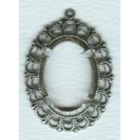 Filigree Open Back 25x18mm Settings Oxidized Silver (6)