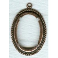 Rope Border Detail Setting 25x18mm Oxidized Copper