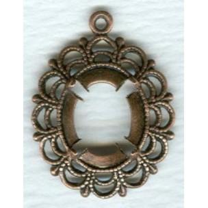 Filigree Setting Pendants 12x10mm Oxidized Copper