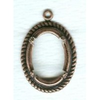 Rope Border Detail Setting 18x13mm Oxidized Copper Plated