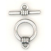 Bar and Toggle Clasp Oxidized Silver Plated Pewter