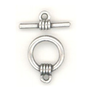 ^Bar and Toggle Clasp Oxidized Silver Plated Pewter (1 set)