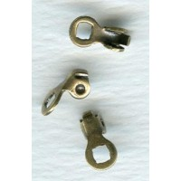 2mm Cord End Clamps with a Loop Oxidized Brass