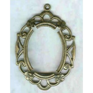 ^Openwork Floral Edge Setting 25x18mm Oxidized Brass (1)