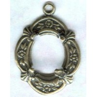 Floral Detailed Open Back 10x8mm Settings Oxidized Brass