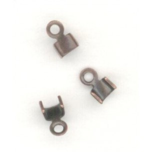 ^End Clamps with Loop 2mm Cord Oxidized Copper