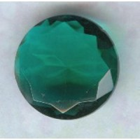 Emerald Glass Round 18mm Unfoiled Jewelry Stone
