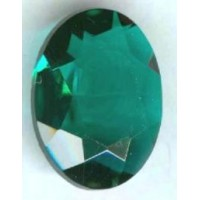 Emerald Glass Oval Unfoiled Jewelry Stone 25x18mm