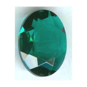Emerald Glass Oval Unfoiled Jewelry Stone 18x13mm