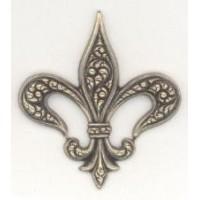 Embossed Fleur-de-Lis Oxidized Brass Patina 40mm (3)