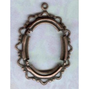 Delicate Openwork Edge Setting 25x18mm Oxidized Copper