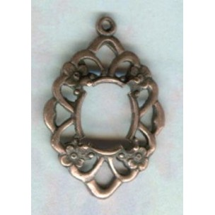 ^Openwork Floral 10x8mm Settings Oxidized Copper (2)