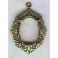 Art Deco Style 14x10mm Brass Setting Pendants (2)